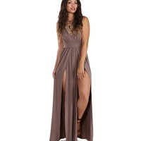 Brown Teaser Maxi Dress