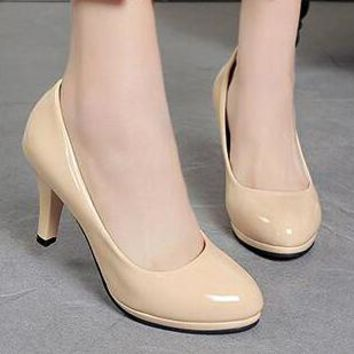 Classic Comfortable Women Stiletto Round-Toed Professional High Heels Apricot