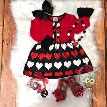 RTS- Adorable Red & Black Heart dress!! D-9