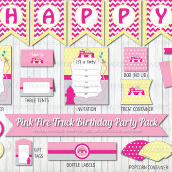 Pink Fire Truck Themed Party Pack,  Birthday Party Decorations, DIY Party, Pink Party, Girl Party,