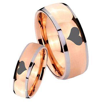 His Hers Rose Gold Dome Heart Two Tone Tungsten Wedding Rings Set