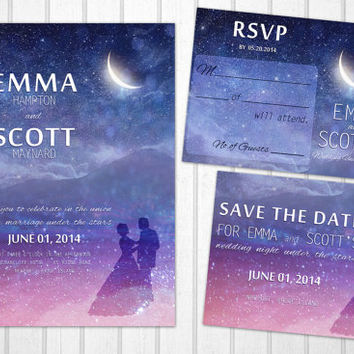 Wedding under the stars PRINTABLE invitation set romantic magical night