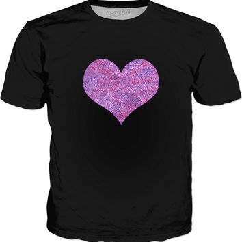 Neon pink and purple swirls doodles heart Classic T-Shirt Black