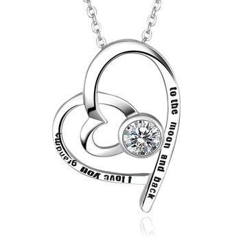 """925 Sterling Silver """"I Love You Grandma to the Moon and Back"""" Heart Cubic Zirconia Pendant Necklace"""