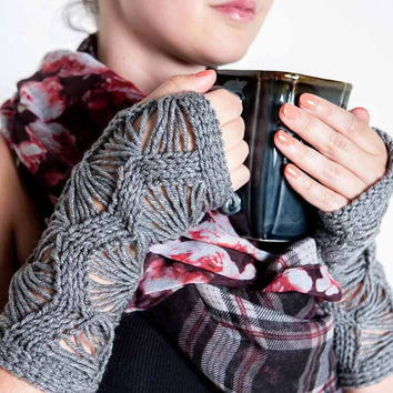 Knit Gloves Knit Wrist Warmers Knit Fingerless Gloves Knit Arm Warmers Fingerless Mittens Knit Hand Warmers Gauntlets Gothic Grey Lace