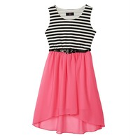 IZ Amy Byer Striped High-Low Sleeveless Dress - Girls