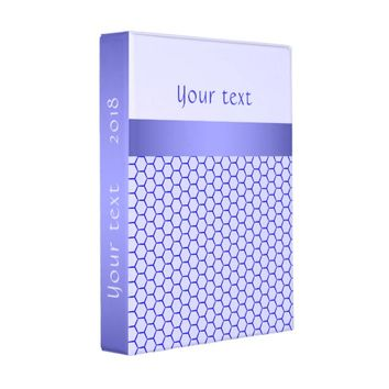 Blue pattern. Grid and silk band. Add your text. Mini Binder