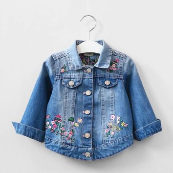 Trendy Kids Girls Denim Jacket Children Butterfly Embroidery Jacket Children's Clothing Girls Spring Coat Baby 2017 Girl Outerwear AT_94_13