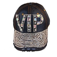 Loyal Cloth Denim Rhinestone Leather Strapback Cap