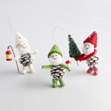 Pinecone Gnome Ornaments Set of 3