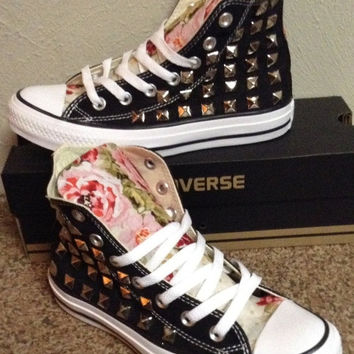 New Years SALE Custom Made Studded Floral Converse shoes