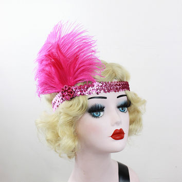 Hot Pink Feather Headband, Silver Sequin, Great Gatsby, Hair Accessory, Feather Fascinator, Halloween Costume