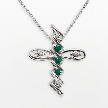 Gem Sensations Sterling Silver Emerald & Diamond Accent Cross Pendant (Green)