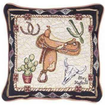 Western Theme Throw Pillow - One Side Design