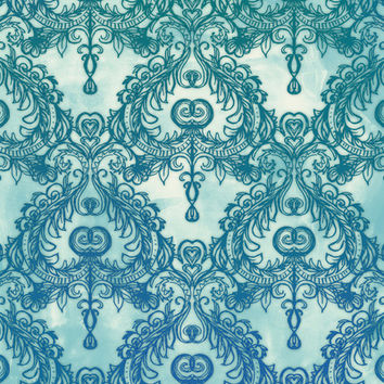 Vintage Wallpaper Pattern In Cobalt Blue Emerald Green Art Print By Micklyn