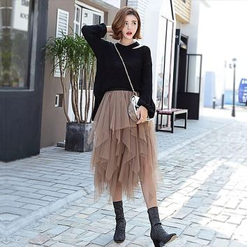 Women Sexy Tulle Mid-calf Skirts 2017 Summer Style Ladies Elastic High Waist 4 Layers Casual Solid Mesh Party Club Wear Skirts