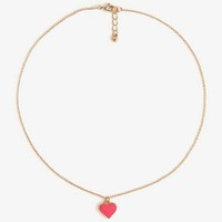Lacquered Heart Charm Necklace   FOREVER 21 - 1028354921
