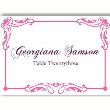 place cards wedding place card template diy editable printable place cards elegant place cards pink place - Printed Wedding Place Cards