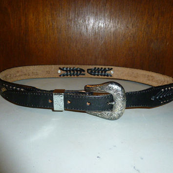 Vintage Nocona Black Leather Western Belt Size 30 Braided Tooled Design