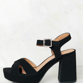 Smooth Suede Strappy Heel Black