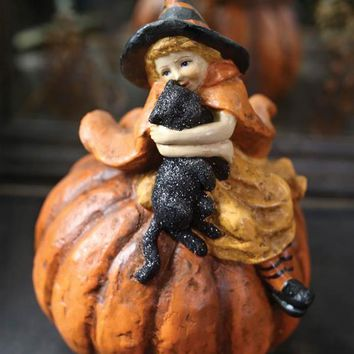 Magwitch & Jet - Witch with Black Cat on Pumpkin Figurine