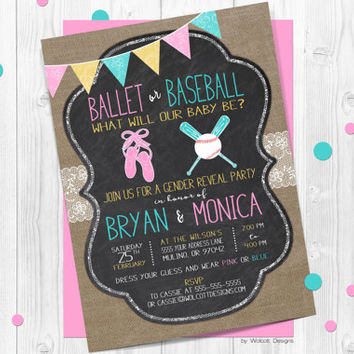 Gender Reveal Invitations, ballet or baseball, gender announcement, lace, country rustic, burlap, chalkboard, gender neutral, baseball