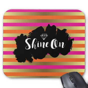 Shine On Pink Orange & Faux Gold Metallic Stripe Mouse Pad