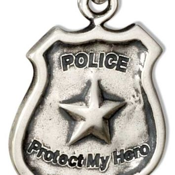 "Sterling Silver Police Shield Charm With ""police"" ""protect My Hero"" Message"