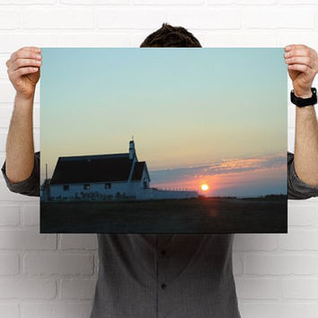 Rustic Church and Sunset Northern Canada Wall Art
