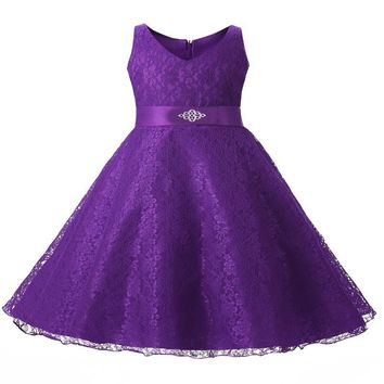 Elegant Embroidery Sleeveless Party Kids Lace Dress