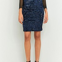 Urban Renewal Vintage Remnants Navy Sequin Pencil Skirt - Urban Outfitters
