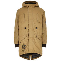 River Island Boys tan cotton coated parka coat