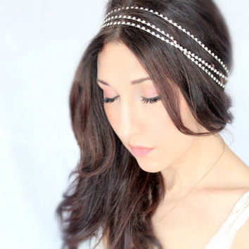 Bridal headband, rhinestone wrap, tiara, wedding headpiece, wedding accessory, bridal headpiece, boho, winter - Le Luvre - by DeLoop