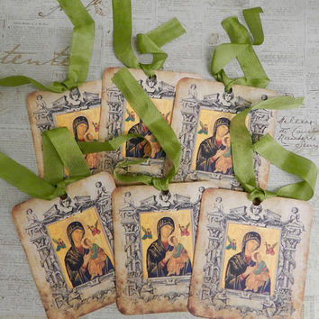 Religious Gift Tags Greek Orthodox Icon Gift Tags Seam Binding Ribbon Gift Tags Set  Theotokos
