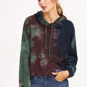 Multicolor Tie Dye Print Overlap Back Drawstring Hooded Sweatshirt | MakeMeChic.COM