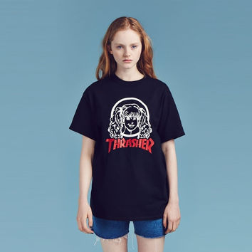 """Lazy Oaf X Thrasher"" Fashion Casual Letter Pattern Print Round Neck Short Sleeve T-shirt Tops"