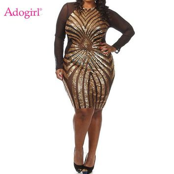 Adogirl Plus Size Women Gatsby Dress Geometric Sequins Mesh Patchwork Vintage Flapper Mini Dress Bodycon Club Party Dresses