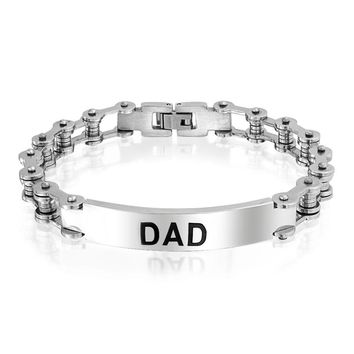 Dad Daddy Name Plated Bicycle Chain Bike ID Bracelet Stainless Steel