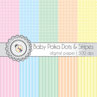 Baby Polka Dots and Stripes - Digital Scrapbooking Paper Pack - 12x12 in., 300dpi, JPG, download, Personal Use, ES0003