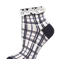 Navy and Pink Check Lace Top Socks