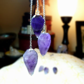 Light Diffusing Amethyst Pendulum on Sterling Silver Chain