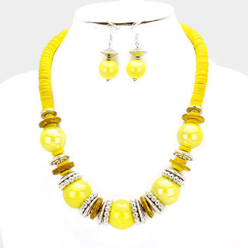 Chunky Yellow & Silver Bead wood disc cluster bib necklace and earring set