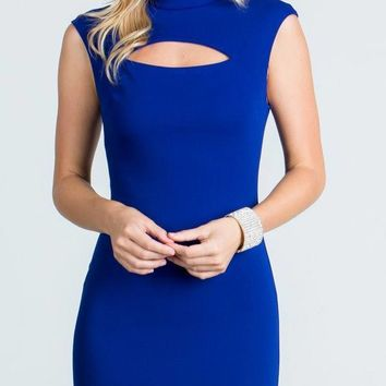 Royal Blue Close Neck Cap Sleeves Bodycon Cocktail Dress with Keyhole