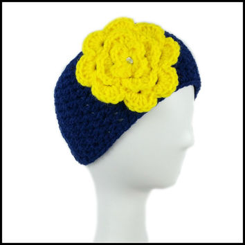 Navy Blue Earwarmer with Yellow Flower