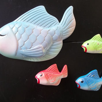 Vintage Miller Studio Set of Chalkware Fish