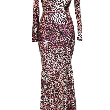 Leopard Print Long-sleeve Mermaid Maxi Dress
