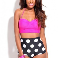 MAGENTA BLACK POLKA DOTS HIGH WAIST TWO PIECE SWIMSUITS