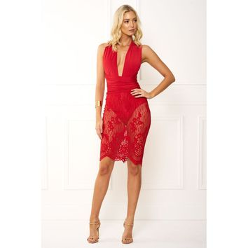 Sexy Lexi Red Lace Halter Dress