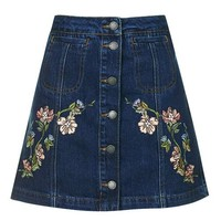 MOTO Floral Embroidered Skirt - Denim - Clothing