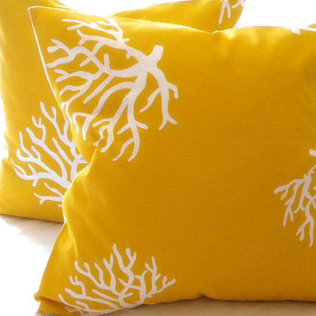 Designer Pillow cover Yellow/ White Coral indoor/outdoor beach  20 x 20